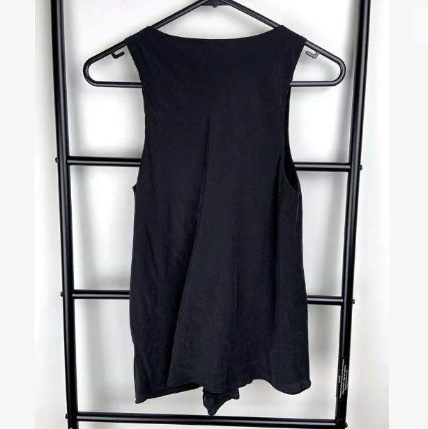 Bianca Spender sz 8 Silk black basic tank top blouse shirt designer minimalist