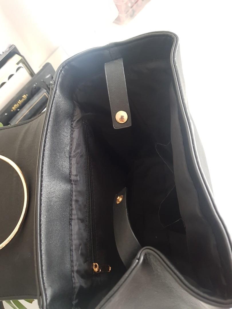 Black gold buckle backpack bag leather