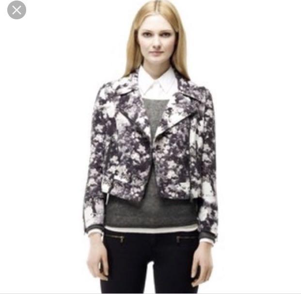 Club Monaco Grey Floral Moto Jacket - Size S - Excellent Condition
