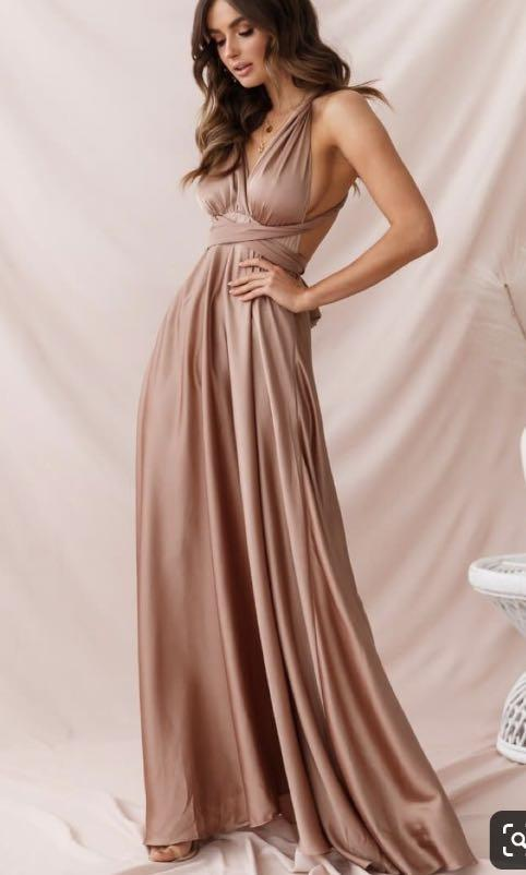 Mocha rose gold skin multiway infinity formal dress gown