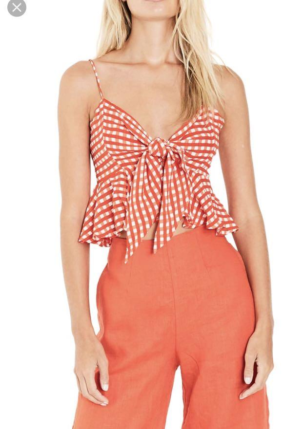 New with Tags - Faithfull the Brand gingham splice top - Size S/4 - BRAND NEW L