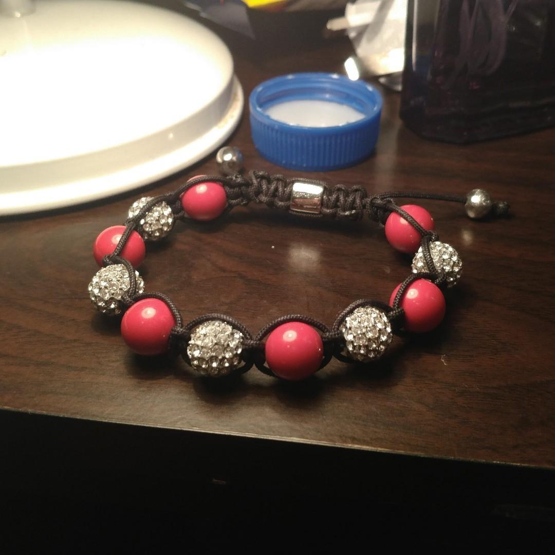 Northskull London x Red Stone x Silver Swarovski crystals bracelet