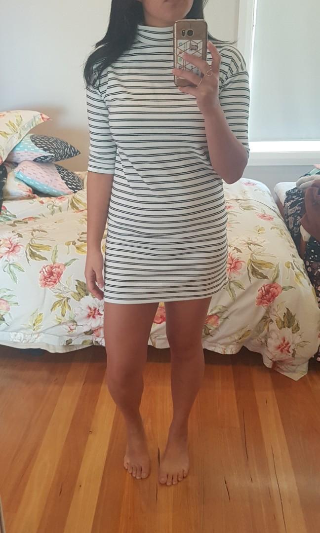 Nude Lucy White Striped High Neck Mini Dress size xs