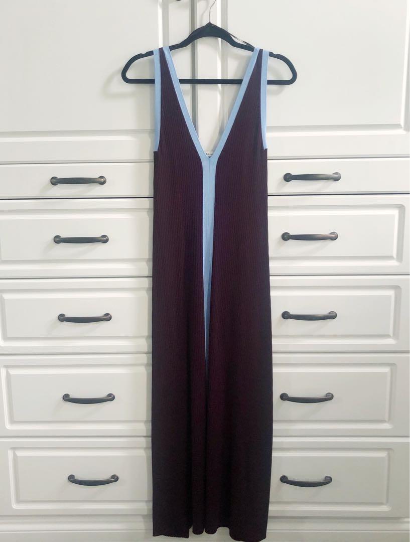 NWT - Burgundy + baby blue ribbed Zara dress - Size S - BRAND NEW