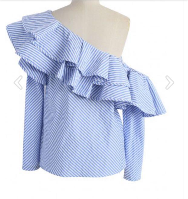 NWT One shoulder blue striped ruffle blouse - Size Small