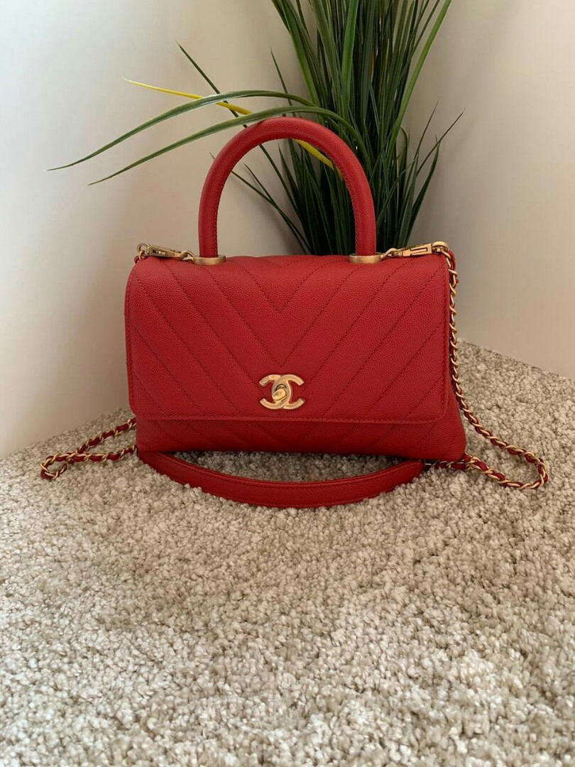 Ready Chanel coco handle red cevron cav GHW #27 (sz : 23/19x14x9 cm) ori rec juni 2019