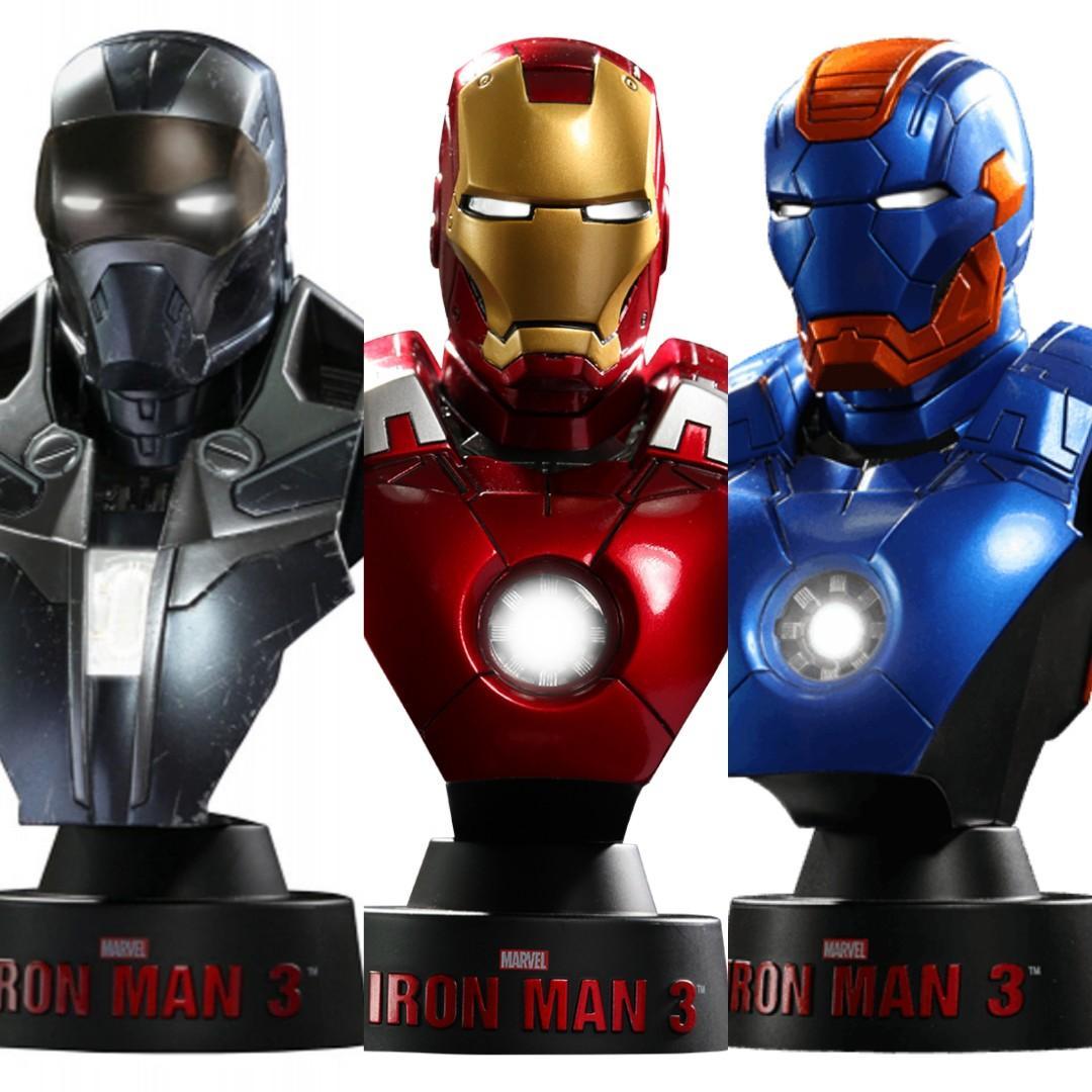 Set of 3 Hot Toys Iron Man 1/6 bust from deluxe set Mark 7 Shotgun Disco Marvel Avengers