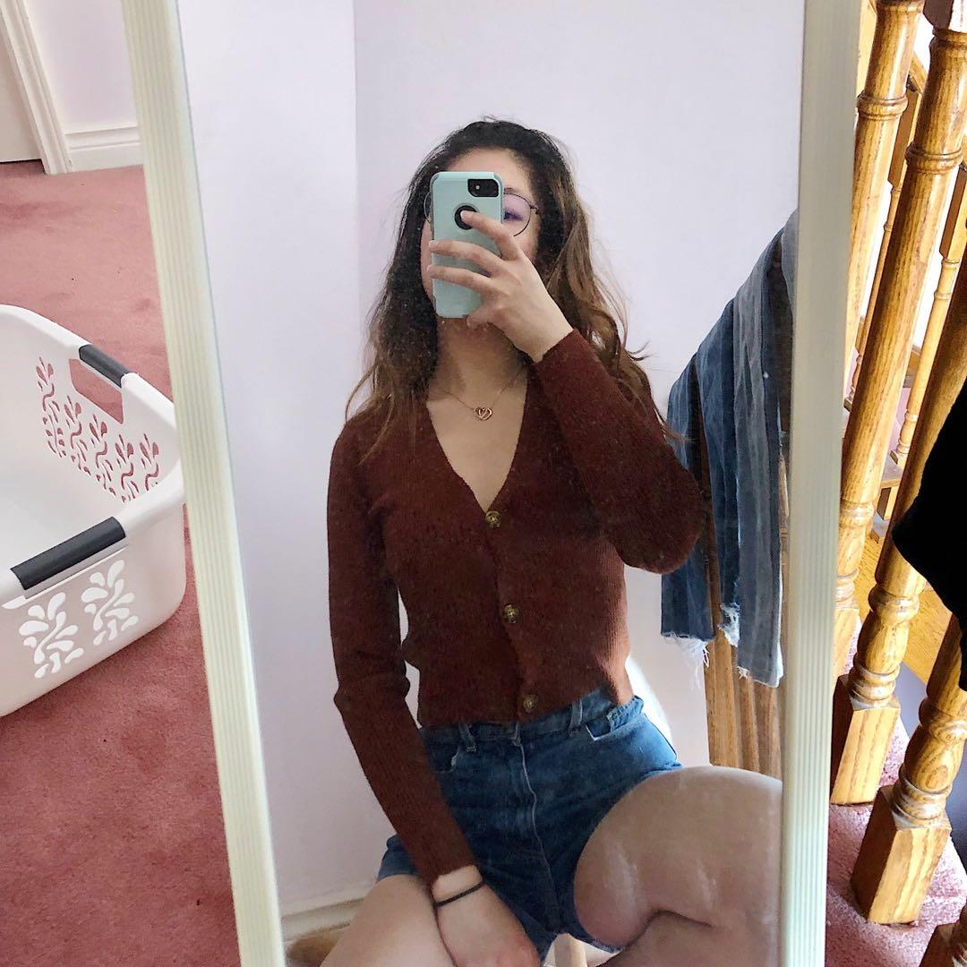soft brown cardigan