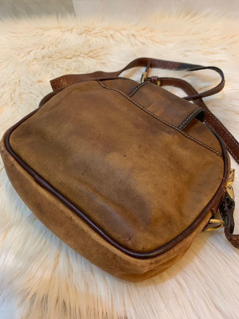 Tas Bonia slempang vintage antik langka original size 20 cm full kulit