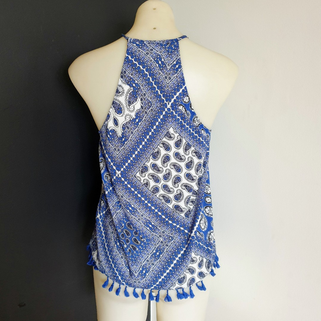 Women's size 8 'SEED HERITAGE' Gorgeous blue summer top with tassel trim - AS NEW