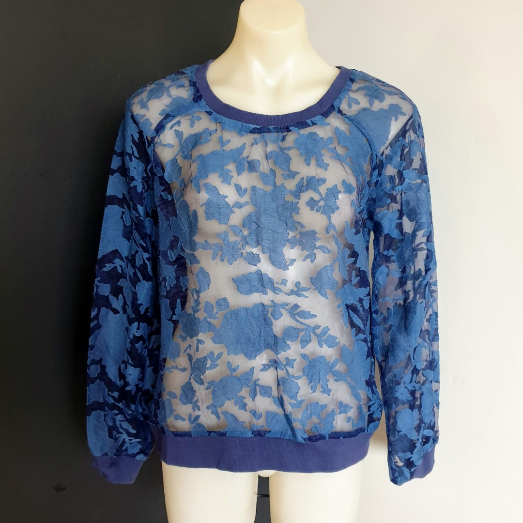 Women's size M 'WELLS GRACE' Stunning blue long sleeve sheer top blouse- AS NEW