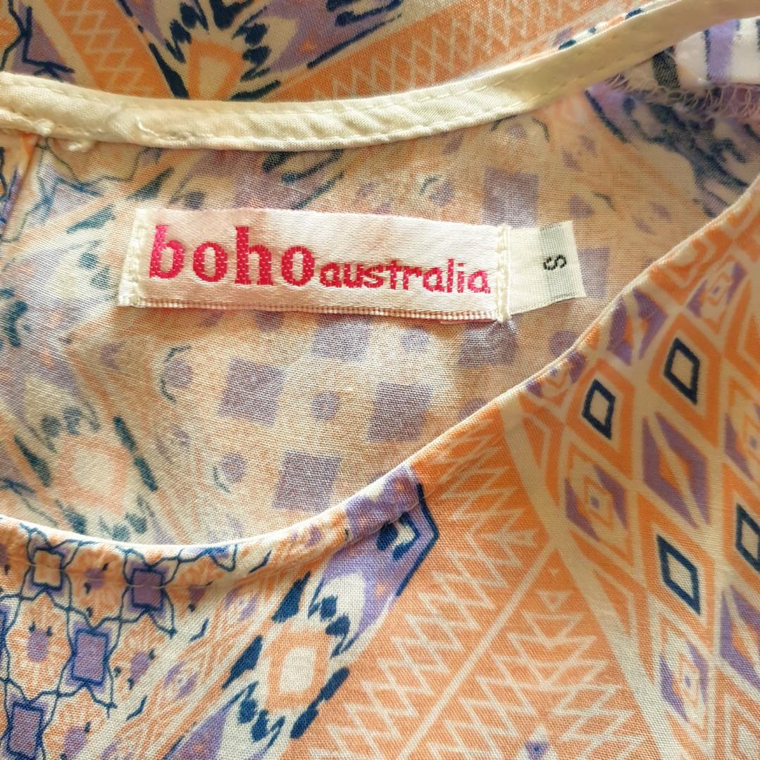 Women's size S 'BOHO australia' Gorgeous sleeveless maxi rayon dress with front slit - AS NEW