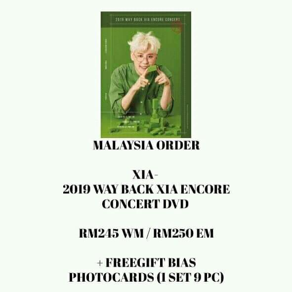 XIA - 2019 WAY BACK XIA ENCORE CONCERT DVD - PREORDER/NORMAL ORDER/GROUP ORDER/GO + FREE GIFT BIAS PHOTOCARDS (1 ALBUM GET 1 SET PC, 1 SET HAS 9 PC)