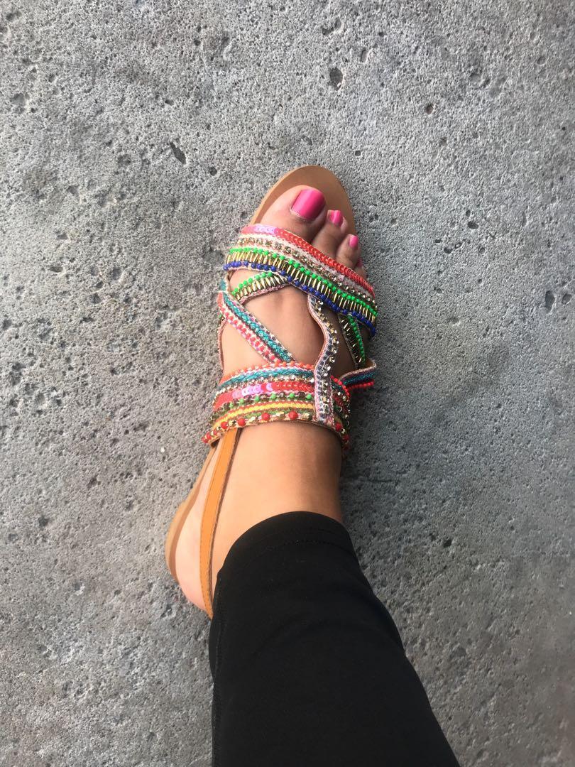 Zara bead sandals