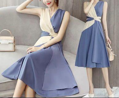 (C1008066) 最新韓款 氣質 斯文 拼色 V傾 連身裙