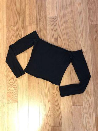 Garage Black Off-Shoulder Crop Top (Size XS)