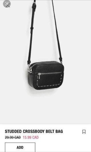 ZARA leather black belt bag