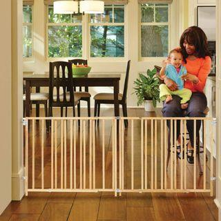 """🚚 North States Extra-Wide Swing Gate by North States: Great for extra-wide openings, with no threshold and one-hand operation. Hardware mount. Fits openings 60"""" to 103"""" wide (27"""" tall, Sustainable Hardwood) Safety Gate"""