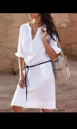 (In stock XL) White Dress with belt.