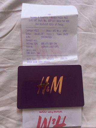 H&M Gift Card (worth 1,000 Php)