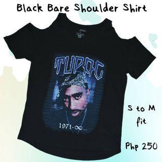 Black Bare Shoulder Shirt