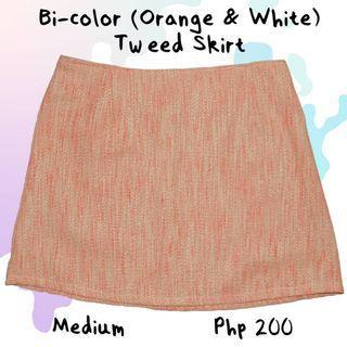 Bi-color (Orange and White) Tweed Skirt