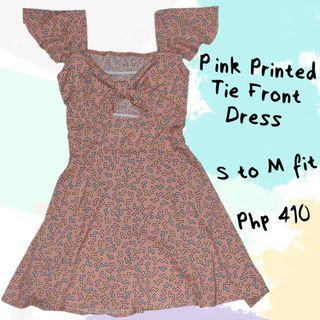 Pink Printed Tie Front Dress
