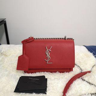 ON HAND: Authentic Yves Saint Laurent Mini Sunset Chain Crossbody Bag in Red