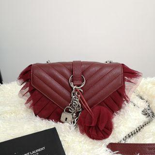 ON HAND: Authentic Yves SAINT LAURENT Goatskin Tulle Chevron Monogram Classic Baby Punk Chain Bag