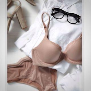 Nude skin colour bra well worn push up ; #CarousellFaster #CarousellBetter