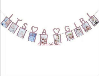 It's a Girl pink banner