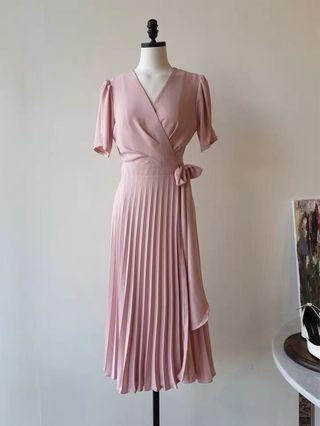 Pink Pleated Wrap Dress