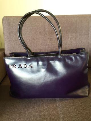 AUTHENTIC VINTAGE PRADA LEATHER TOTE WITH LASER-CUT LOGO