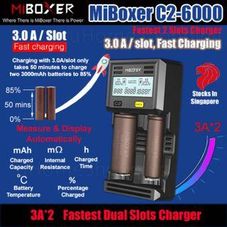 MiBoxer C2-6000 3.0A Per Slot Fast Smart Charger With UK Plug  - 18650 26650 Li-Ion Battery Charger