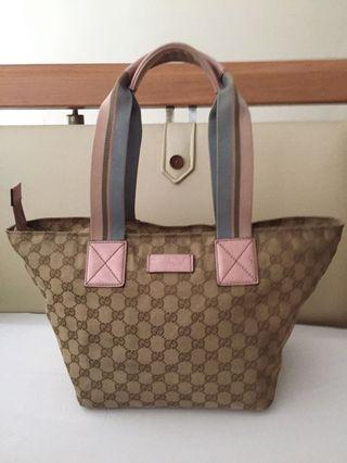 AUTHENTIC GUCCI PINK LEATHER GG MONOGRAM CANVAS WEB TOTE BAG