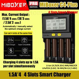 MiBoxer C4-Plus 1.5A Per Slot Smart Charger With UK Plug - 18650 26650 4 Slots Battery Charger