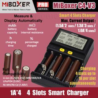 MiBoxer C4-V3, 4*1.0A, 3*1.3A, 2*1.5A. Smart Charger With UK Plug - 18650 26650 4 Slots Battery Charger