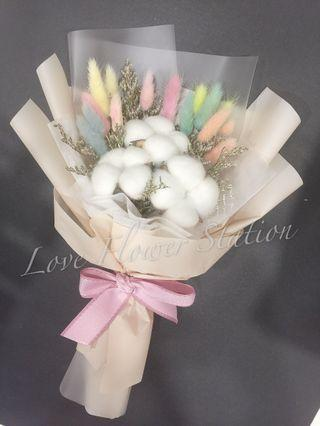 Cotton Flower with Rabbit Tail Flower Bouquet/ Dried Flower Bouquet / Graduation Flower Bouquet/ Birthday Flower Bouquet / Cotton Flower