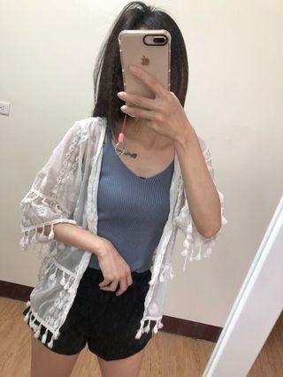 🚚 白色流蘇短版罩衫