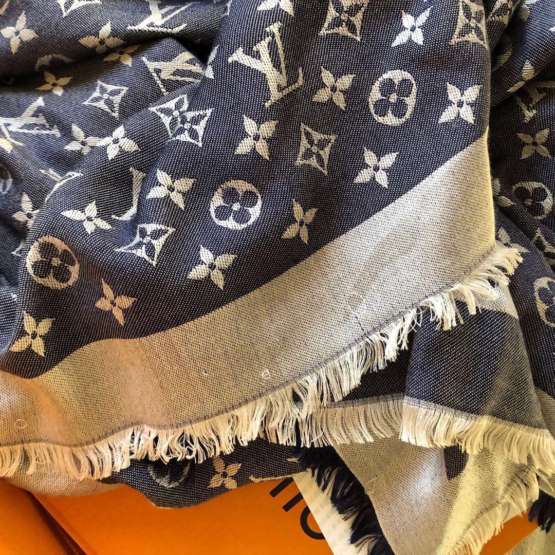 100% Authentic Louis Vuitton LV blue denim silk wool classic monogram scarf shawl