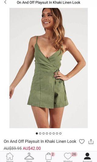 Showpo Linen Khaki Playsuit