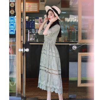 轉賣 原價1600 MILKCOCOA 正韓 清新薄荷綠蕾絲簍空洋裝