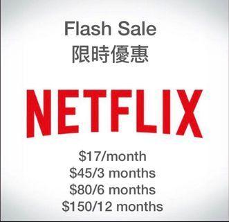 [🔥限時優惠 - 10/7/2019] $17/月Netflix 帳號 4K account (先 Like Item + Order + 五星 Review)