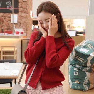 轉賣 原價1200 Cherrykoko Crko 正韓 可愛紅色針織外套