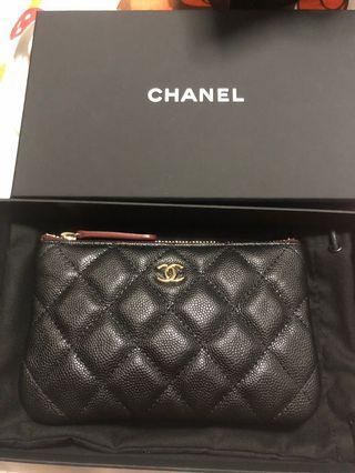 Chanel mini O case in caviar black