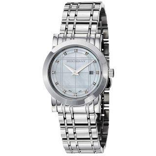 Burberry Heritage Diamond Mother of Pearl Dial Stainless Steel Ladies Watch BU1370