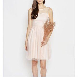 Regine Sweetheart Mesh Dress in Peach #AmplifyJuly35