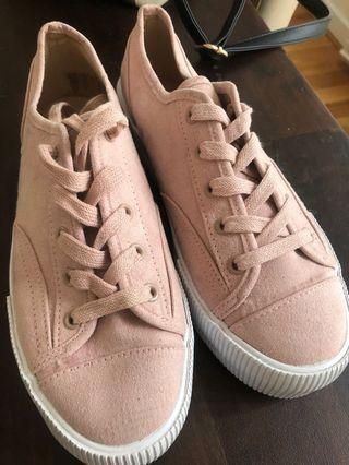 Divided Pink Faux Suede Platform Sneakers