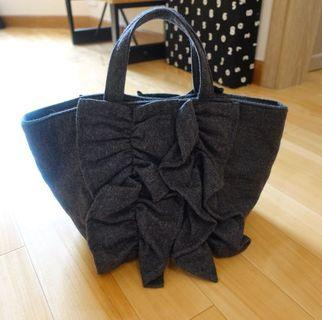 日本Ray Beams Beams Boy灰色絨布花邊ruffles tote bag lace手挽袋marimekko muji