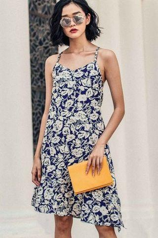 FASHMOB Savannah Tie-Back Dress in Navy